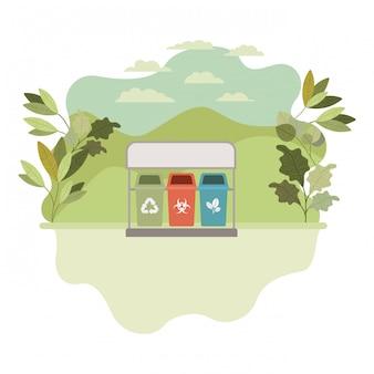 Cestini per il riciclaggio con icona isolata paesaggio