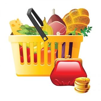 Cestino della spesa e portafoglio completi