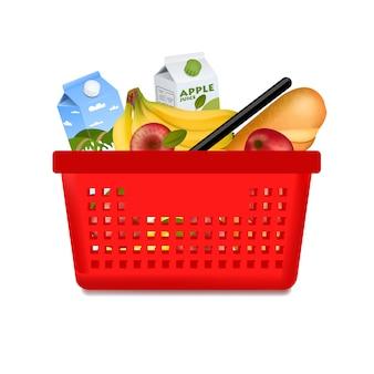 Cestino della spesa isolato con i prodotti