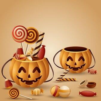 Cestino delle zucche di halloween e caramelle raccolte