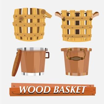 Cestino di legno.