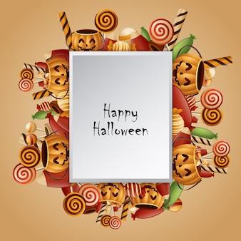 Cestino di zucche di carta quadrato di halloween