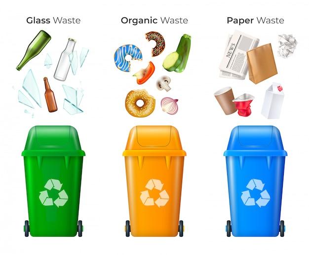 Cestino e riciclaggio insieme con vetro e rifiuti organici realistico isolato