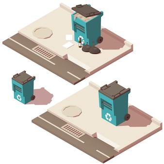 Cestino pieno e vuoto delle icone dei rifiuti
