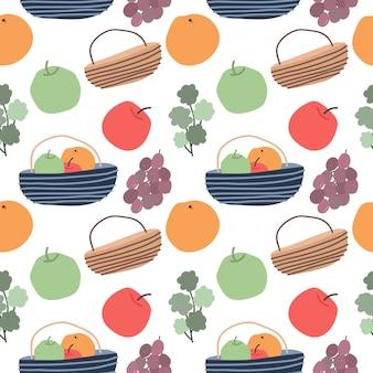 Cesto di frutta e reticolo senza giunte di verdure