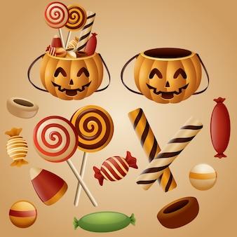 Cesto di zucche di halloween con caramelle