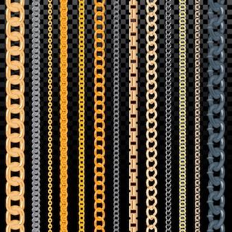 Chainlet dorato del modello a catena di vettore nella linea o collegamento metallico dell'insieme dell'illustrazione dei gioielli di corda e della collana incatenate isolati