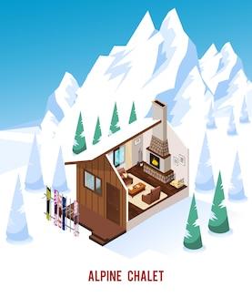 Chalet isometrica con camino nelle montagne