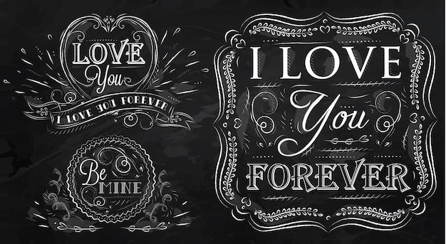 Chalk design elementi di amore