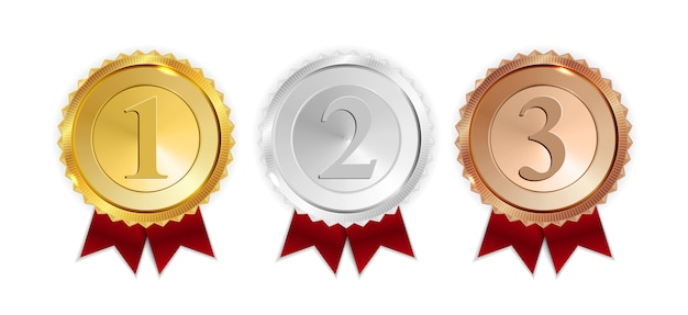 Champion gold, silver e bronze medal con red ribbon icon iscriviti first, second e third place set collection isolated