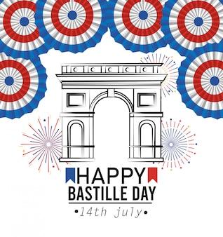 Champs elyses con decorazione della francia e fuochi d'artificio