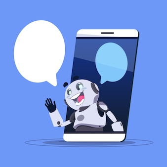 Chat bot app del supporto tecnico nel banner modello di telefono intelligente con copia spazio, chatter o chatterbot virtual web service concept