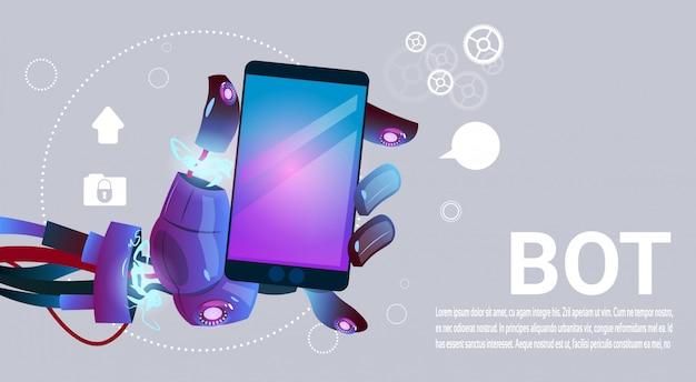Chat bot mani utilizzando cell smart phone, robot di assistenza virtuale del sito web o applicazioni mobili, a