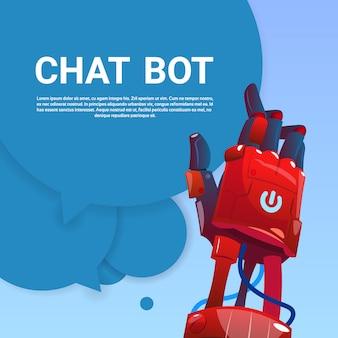 Chat bot robot assistenza virtuale del sito web o applicazioni mobili, concetto di intelligenza artificiale