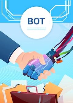 Chat bot scuotere la mano con le persone robot assistenza virtuale del sito web o applicazioni mobili, artifi