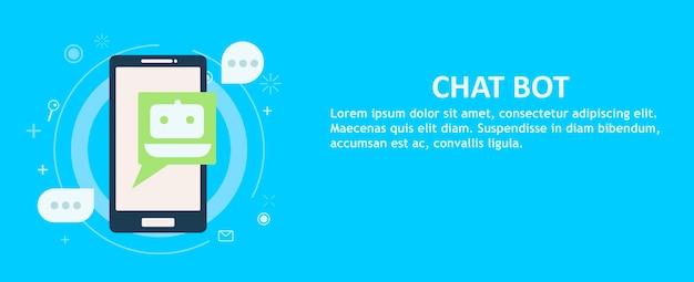 Chat bot sul telefono in mano. banner.