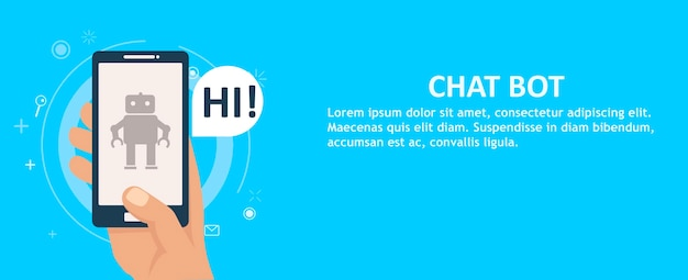 Chat bot sul telefono in mano. banner.