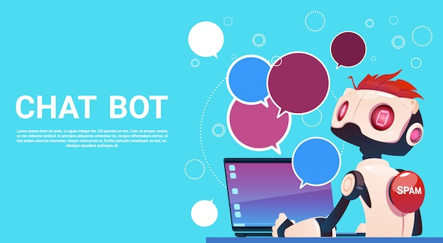 Chat bot utilizzo di computer portatile, robot assistenza virtuale di siti web o applicazioni mobili, artifici