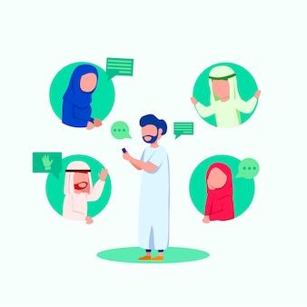 Chat di gruppo di illustrazione di persone arabe