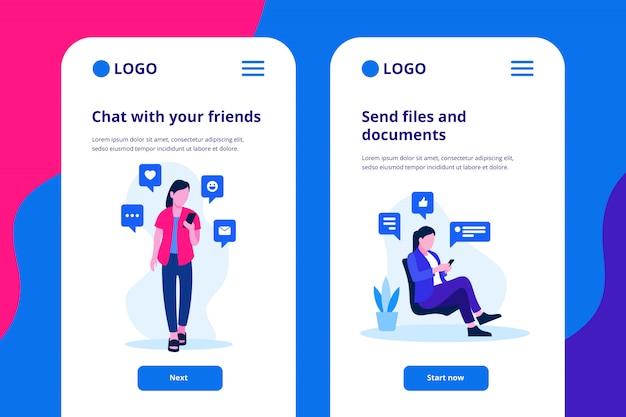 Chat illustrazione app mobile