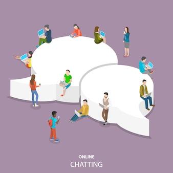 Chat isometrica piatta online.