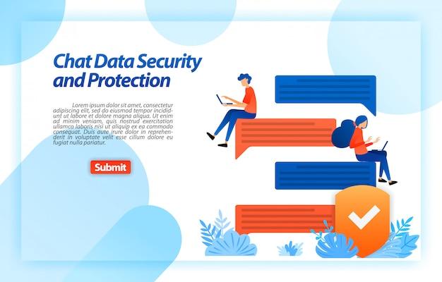 Chat online di sicurezza e protezione dei dati con un sistema di sicurezza internet per proteggere il dispositivo e la privacy dell'utente. modello web della pagina di destinazione