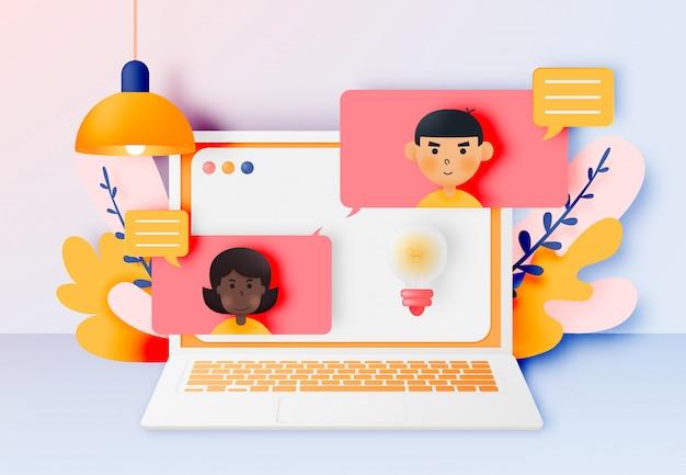 Chat parlare di giovani con il computer portatile con bolle di discorso in chat.