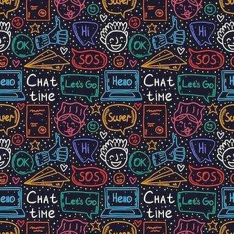 Chat tempo cartoon, doodle, modello senza soluzione di continuità, sfondo, sfondo, trama. nuvoletta, messaggio, emoji, lettera, gadget, aereo di carta. simpatico design al neon colorato.
