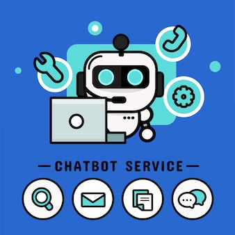 Chatbot con le cuffie. call center vector, design moderno vettoriale