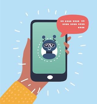 Chatbot concetto di business. user girl in chat con l'applicazione mobile robot. concetto di bot in chiave moderna. illustrazione.