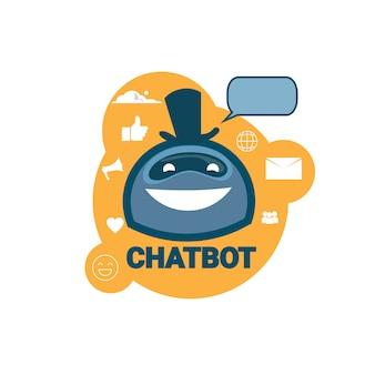 Chatbot icon concept supporto robot tecnologia applicazione chat digitale chat