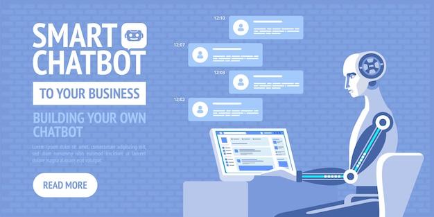 Chatbot intelligente per la tua azienda. manifesto di vettore per biglietti da visita, sito, banner, web, brochure