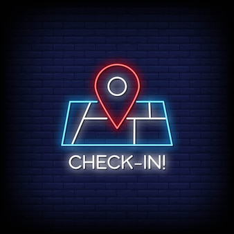 Check in neon signboard
