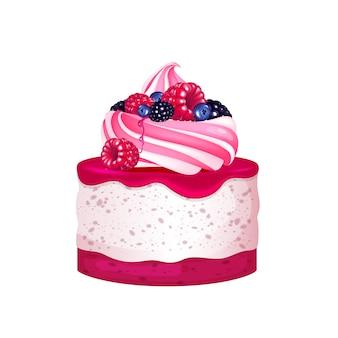 Cheesecake con frutti di bosco, illustrazione realistica del dessert cremoso