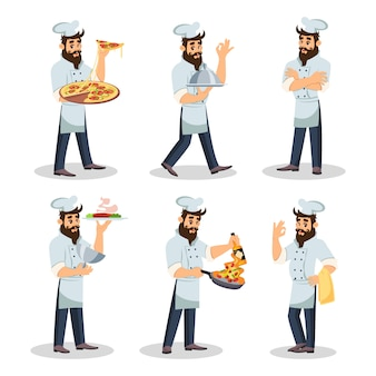 Chef barbuto in berretto e grembiule che cucina pasto, portando piatti.