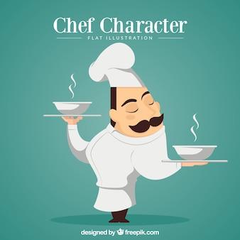 Chef carattere che porta la minestra