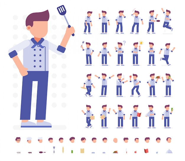 Chef character set in diverse pose. illustrazione vettoriale piana. isolato