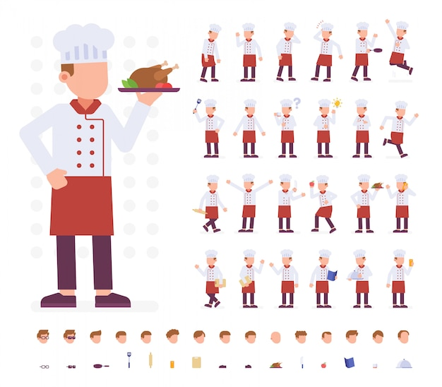 Chef character set in diverse pose
