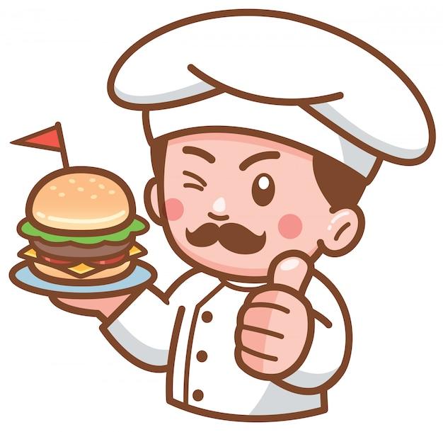 Chef di hamburger di cartone animato che presenta cibo