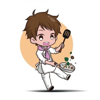 Chef divertente cartone animato carino. carattere concetto di lavoro.