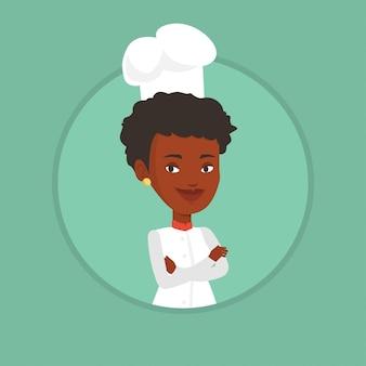 Chef femminile fiducioso con le braccia incrociate.