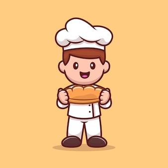 Chef maschio tenendo il fumetto di pane