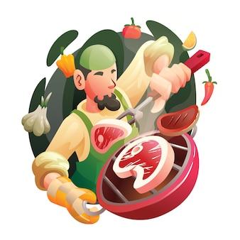 Chef musulmani professionisti che cucinano manzo