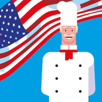 Chef professionista con bandiera usa