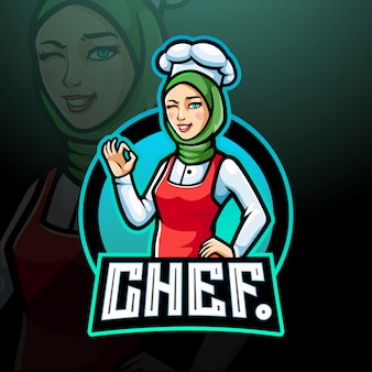 Chef ragazza esport logo mascotte design