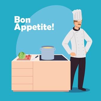 Chef uomo con fornelli ed elementi di design illustrazione cucina