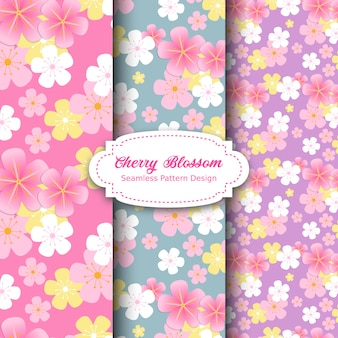 Cherry blossom pattern design in rosa e viola