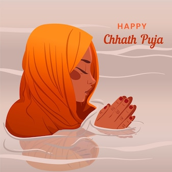 Chhath puja disegnato a mano