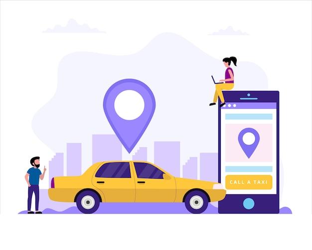 Chiama un'illustrazione di ñoncept del taxi con l'automobile del taxi