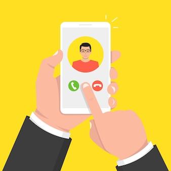 Chiamata in arrivo sullo schermo del telefono. avatar maschile